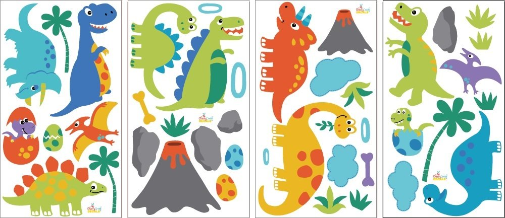 Dino Land Dinosaurs Baby Peel & Stick Wall Sticker Decals by CherryCreek Decals (Image #2)