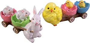 Easter Bunny and Yellow Chick Pastel Egg Cart Figurines, 6 Inches