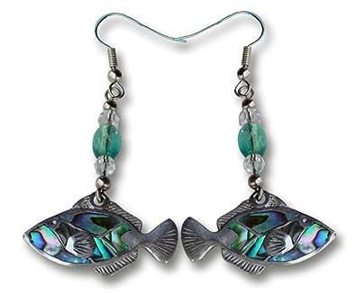 Amazon Natural Paua Pewter Earrings Humuhumu Jewelry