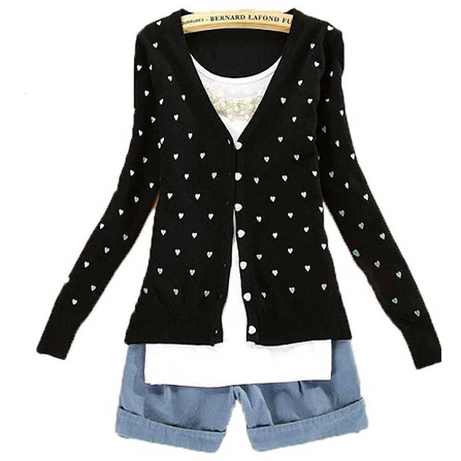Women Cute Button Down Heart-Shape Pattern Casual Knitted Cardigan ...