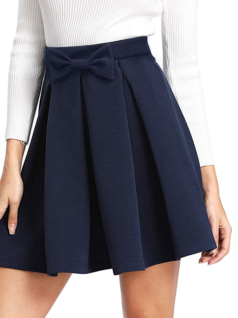 bc939d7bb Design  Bow front decoration design Pleated casual skirt back zipper closure  above knee short length Preppy style  High waisted skirts  Fit and Flare  ...