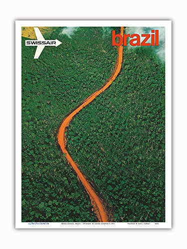 Pacifica Island Art Mato Grosso, Brazil - Aerial view of the Brazilian Rain Forest - Swissair - Vintage World Travel Poster by Georg Gerster c.1971 - Master Art Print - 9in x 12in