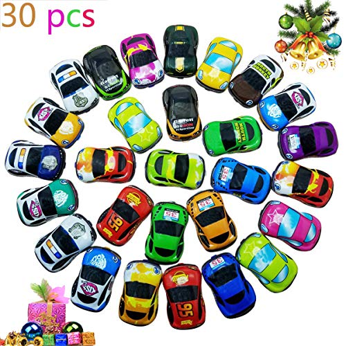 Pull Back Vehicles,30 Pack Friction Powered Pull Back Car Toys,  Vehicles and Racing cars Mini Car Toy For Kids Toddlers Boys,Pull Back and Go Car Toy..]()