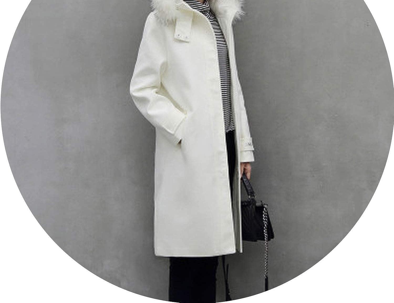 Beige with cotton Dreamedge Winter Coat Women Woolen Coat Female Slim Long Single Faux Fur Collar Wool Casacos