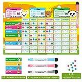 Magnetic Chore Chart, AGPTEK Behavior Reward Chart for Multiple Kids with 1 Magnetic Board, 32 Magnetic Habits, 3 Magnetic Eraser Markers & 210 Magnetic Stars