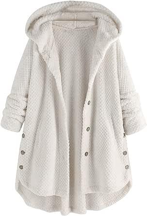 Forthery - Abrigo de piel sintética con capucha para mujer
