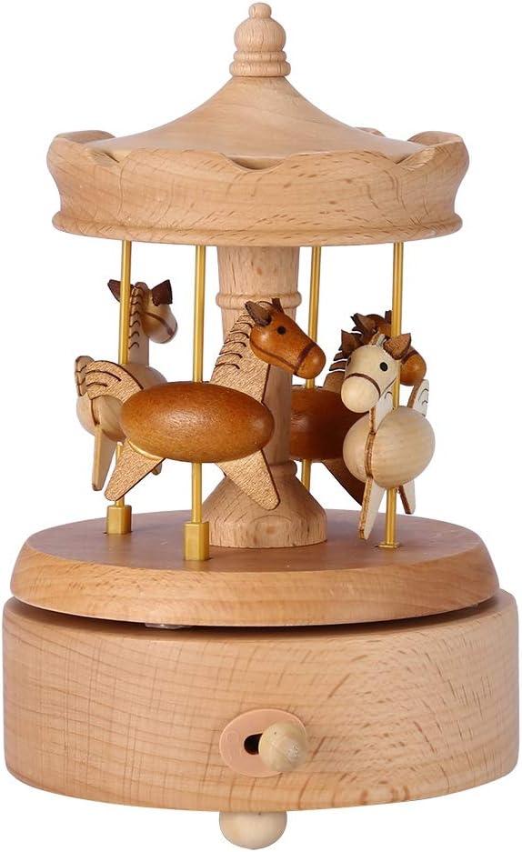 Lazmin Caja de música giratoria de Madera de Caballos Vintage, Hermosa Caja de música de Caballo de carrusel Regalo de cumpleaños de Navidad para decoración del hogar