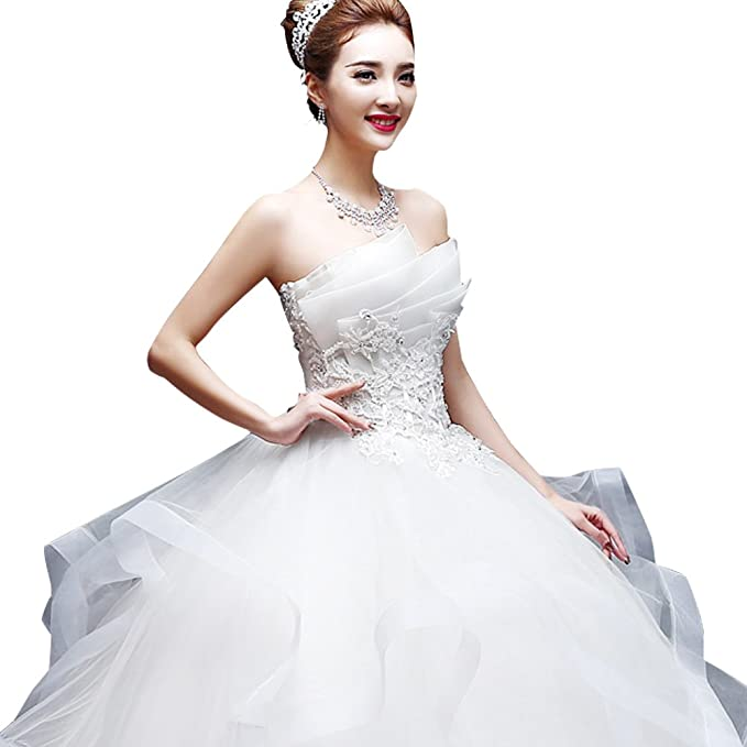 Woolala Sleeveless Womens Plus Size Wedding Dresses with Multi Layered Bandeau Neck Sequins Diamond Ball Gown