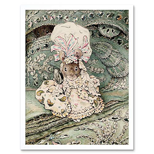 (Wee Blue Coo Helen Beatrix Potter Lady Mouse Mob Cap Art Print Framed Poster Wall Decor 12x16)