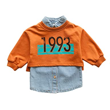 581758617134 ALLAIBB Little Baby Girl Dress 2PCs Printing Long Sleeve Shirt Denim Vest  Dress Sleeveless  Amazon.co.uk  Clothing