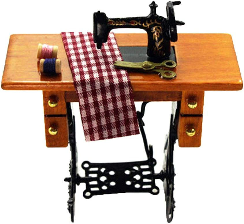 Mini Sewing Machine with Cloth Model Toy for 1//12 Scale Dollhouse Decor