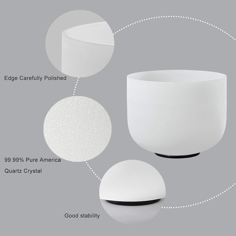 440HZ Set of 3 PCS 8-12 Quartz Crystal Singing Bowls 8 inch A Note+10 inch C Note+12 inch F Note With Crystal Singing Bowls Case Bag