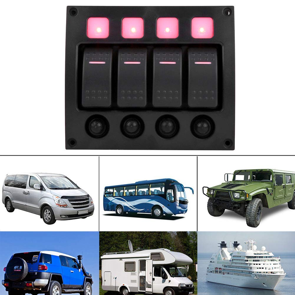24V Interrupteur /à Bascule Yacht RV /étanche Interrupteur /à Bascule Marche//Arr/êt avec Indicateur lumineux /à LED pour bateau de voiture KIMISS 4P 12