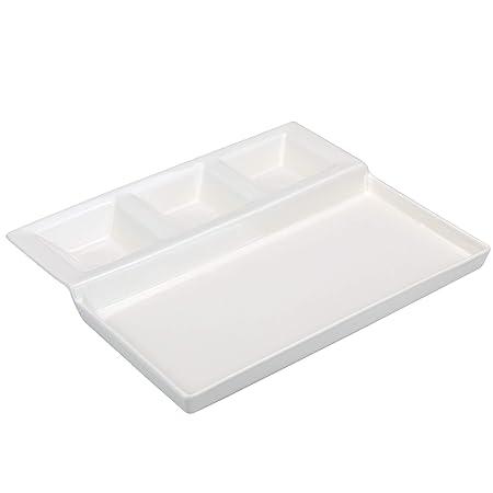 Grillteller mit 4 Vertiefungen für Speisen und Dips Fondueteller aus Porzellan