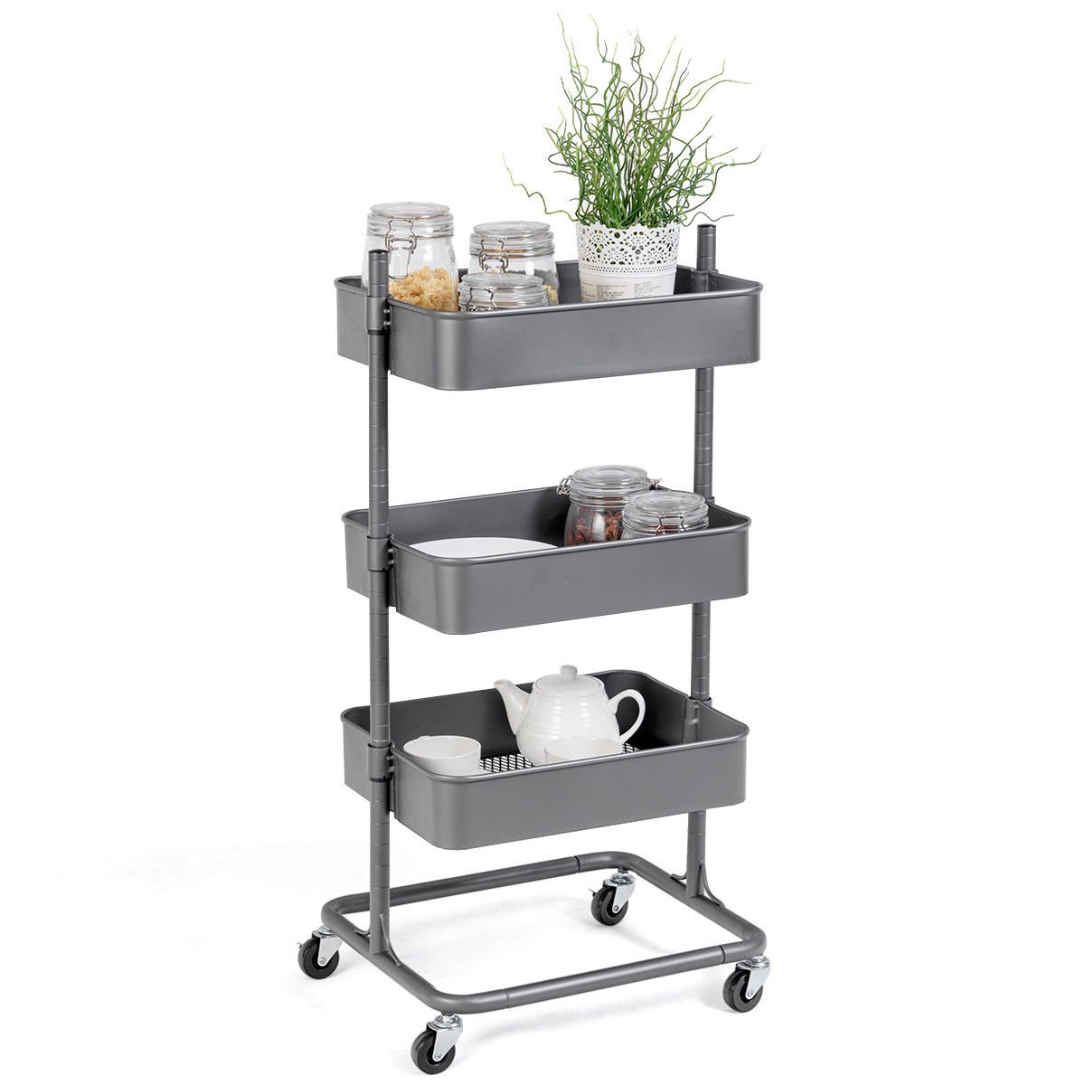 Giantex Rolling Utility Cart Mobile Storage Organizer Multifunctional Home Office Storage Trolley Serving Cart w Metal Mesh Shelves Lockable Wheels Gray, 3-Tier