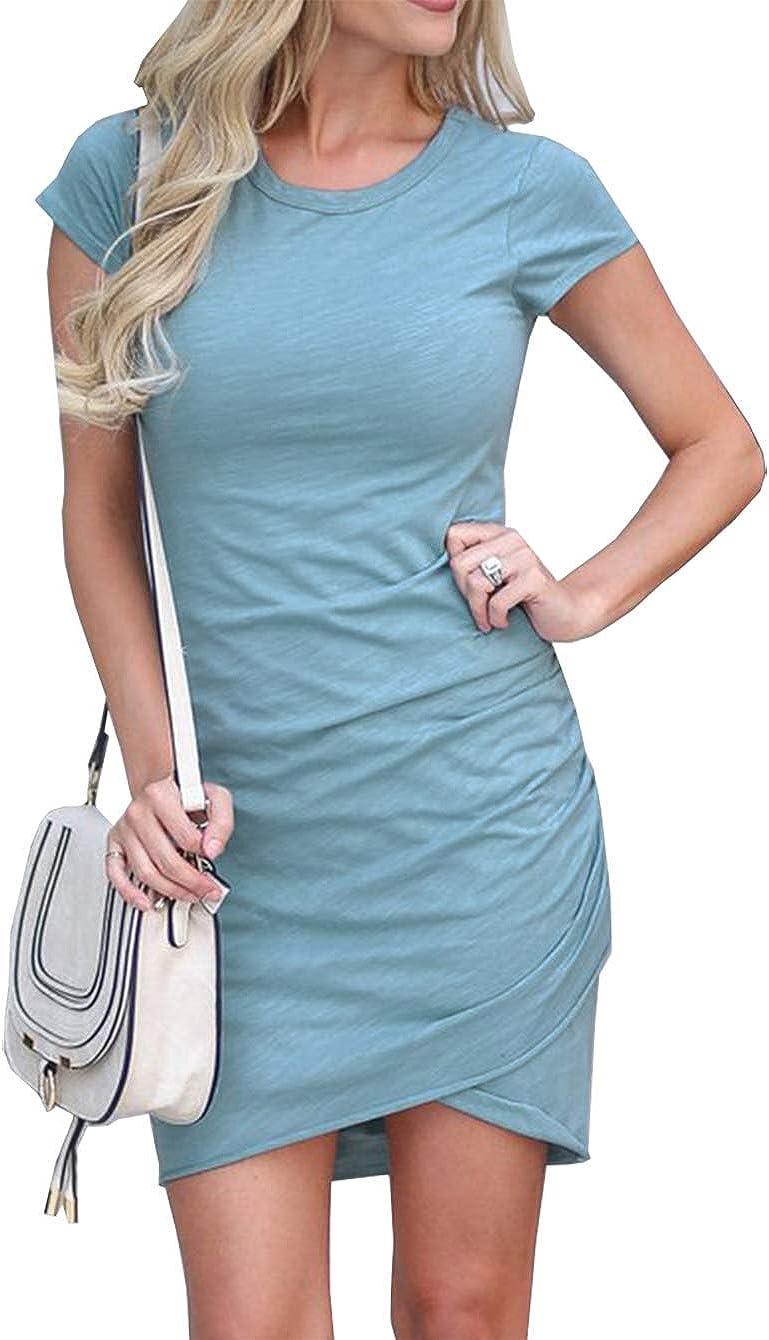 LaLaLa Damen Enges Kleid Sommer Elegant Kurzarm Bodycon Kleid Rundhals Kurzes Kleid