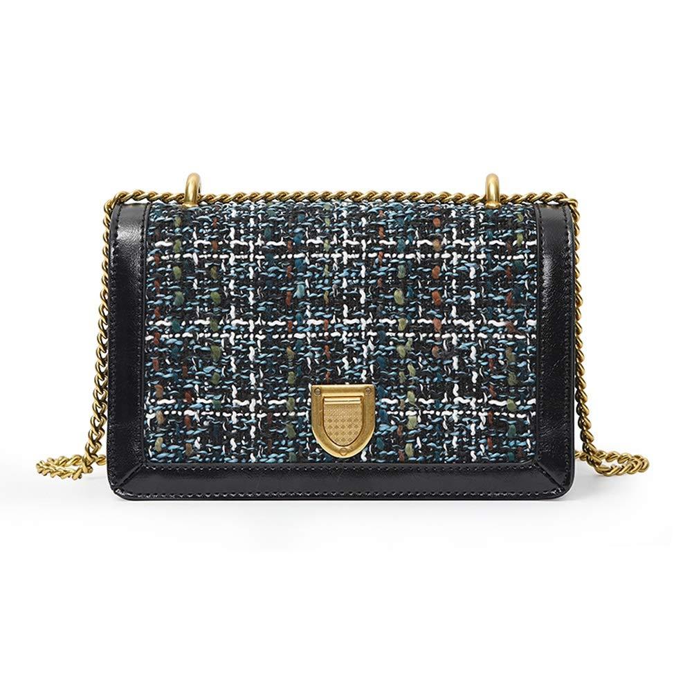 YD ショルダーバッグ - PU/ファブリック、ファッションステッチ、大容量、ソフトフェイス、ワイルドチェーン、女の子、ショルダー、スモールスクエアバッグ (色 : ブラック) B07PVNLTY3 ブラック