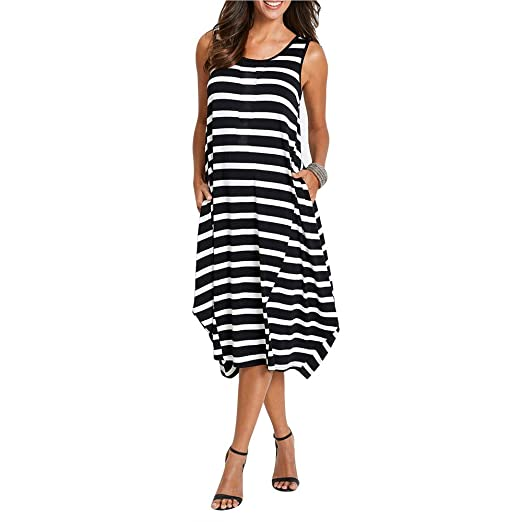 Sunnow Women S Black Striped Casual Sleeveless Tank Top Midi Maxi