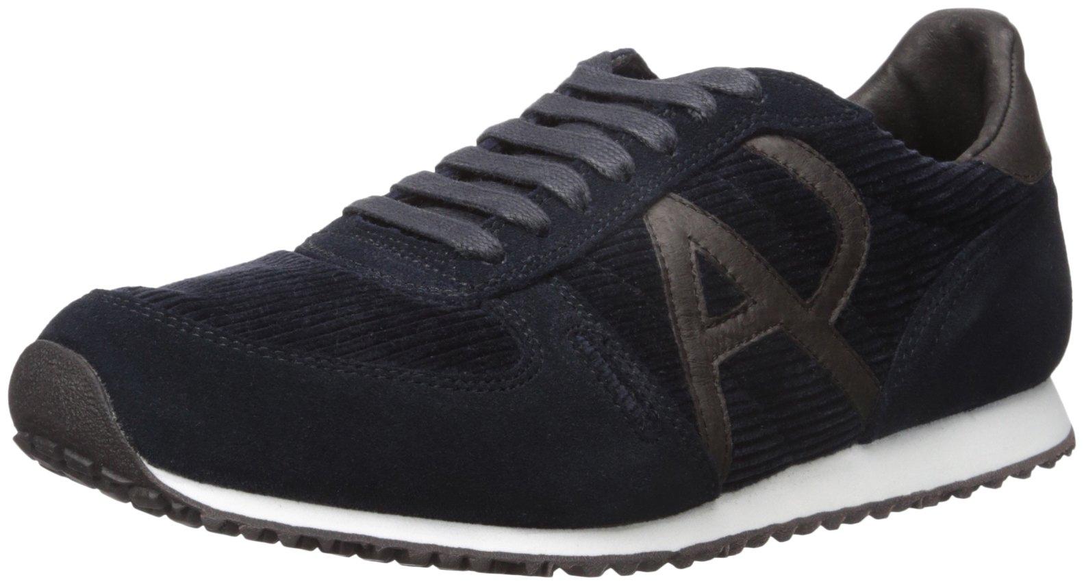 ARMANI JEANS Men's Courderoy Trainer Fashion Sneaker, Blue Graphite, 44 EU/9.5 M US