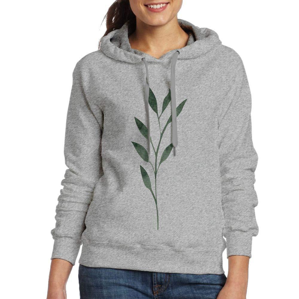 YeeATZ Women's Fine Lesves Patterns Athletic Hoodies Pullover Sweatshirt Ash M