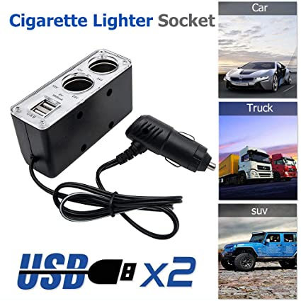 MASO 12V Dual Car Encendedor de Cigarrillos 2 USB Socket ...