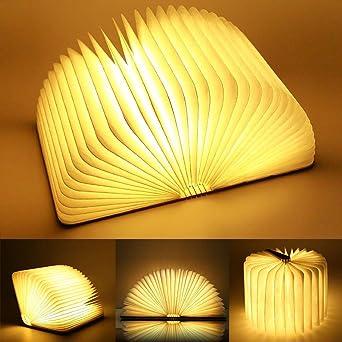 Yuanj Livre Lampe Pliante, Rechargeable par USB, Lumière LED Magnétique en Bois, Lumières Décoratives, Lampe de Table, Lampe de Bureau avec Batterie