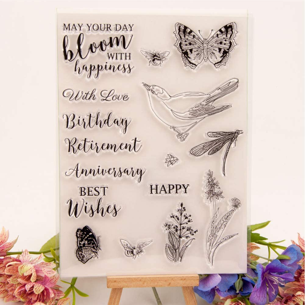 Bird Pattern Hand‑Made Stamp Pattern TPR for Scrapbook Card Making Craft Collections Journal Jimfoty Transparent Stamp