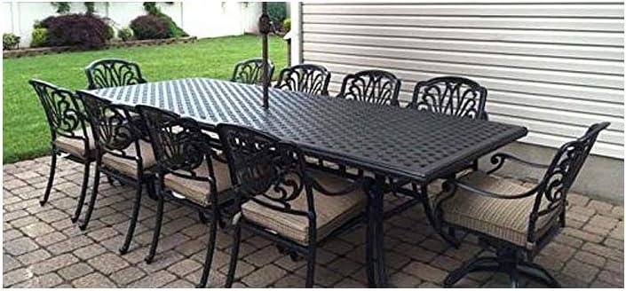 Amazon Com Elizabeth Cast Aluminum 11 Piece Dining Set Patio Furniture 46 X 120 Rectangle Table Desert Bronze Garden Outdoor