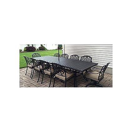 Beau Amazon.com: Patio Furniture Outdoor Elisabeth 11 Piece Dining Set Cast  Aluminum Desert Bronze: Garden U0026 Outdoor