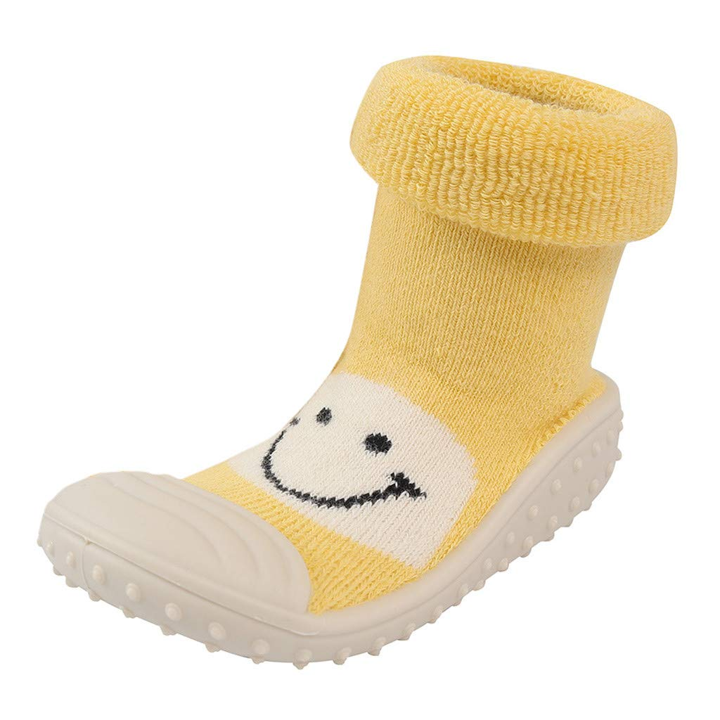 NUWFOR Baby Infant Toddler Girls Boys Cartoon Smile Winter Warm Prewalker Socks Shoes(Yellow,2-2.5Years)