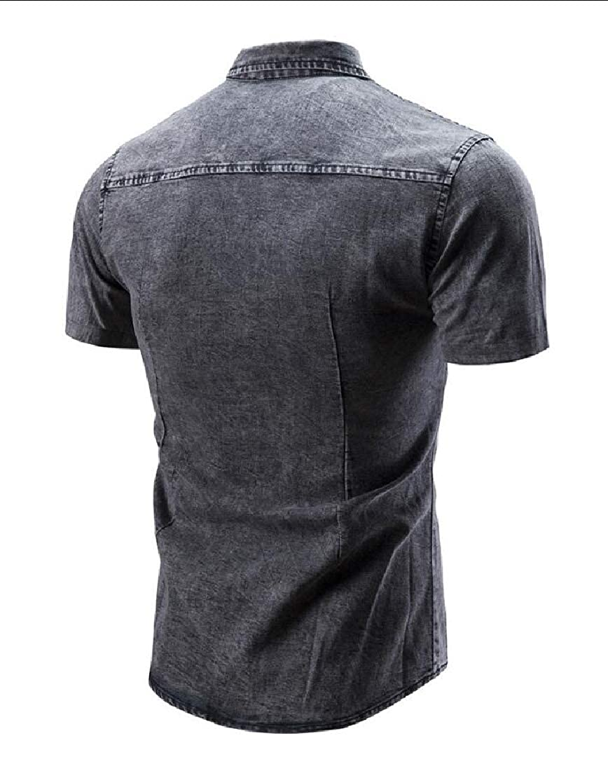 WSPLYSPJY Mens Casual Lapel Slim Fit Short Sleeve Buttons Demin Jeans Shirts