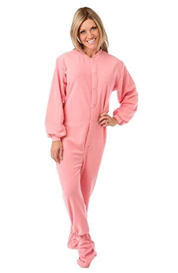 2996c81441 Big Feet Pajama s Pink Micro-Polar Fleece Adult Footed Pajamas Onesie NO  Drop Seat