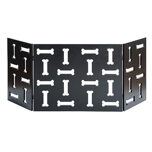 Zoogamo 3 Panel Black Dog Bone Design Pet Gate – Durable Lightweight Extra Wide Wooden Expandable Folding Home Indoor Outdoor Dog Fence