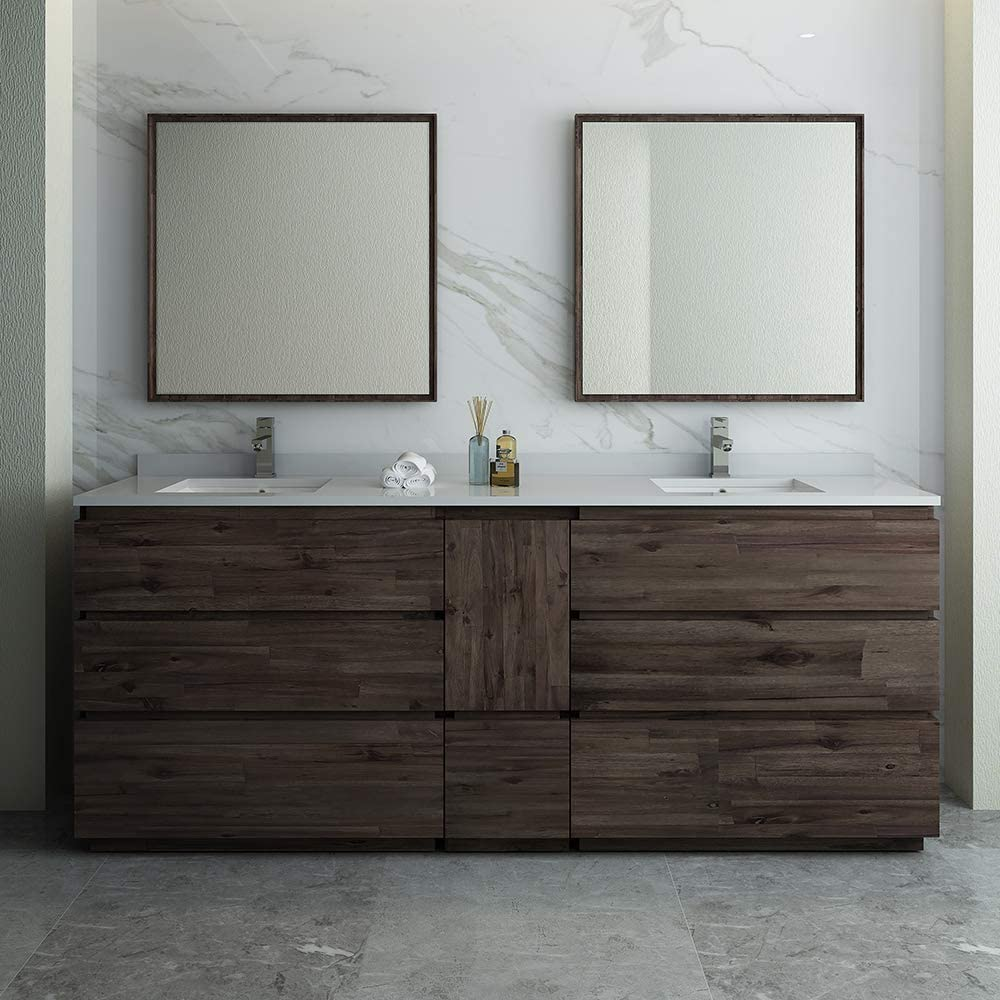 Fresca Formosa 84 Floor Standing Double Sink Modern Bathroom Vanity with Mirrors Renewed