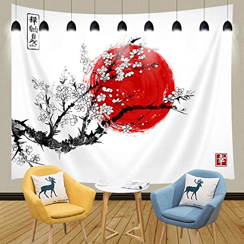 JAWO Asian Decor Tapestry Wall Hanging, Traditional Japanese Ink Painting Sakura in Blossom and Red Sun, Polyester Fabric Wall Tapestry for Home Living Room Bedroom Dorm Decor 90W X 70L Inches