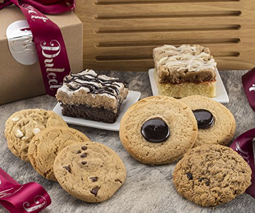 Dulcet's Best Sellers Pastry Gift Box-Includes Chocolate Chip, Macadamia Nut,Oatmeal Raisin, Peanut Butter and Chinese Cookies, Raspberry and Chocolate Crumb Cake
