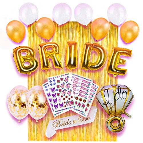 Extreme Temporary Tattoo - Premium 18 Pc Bachelorette Party Decorations and Full Color Tattoos by King V Pro -Gold Bridal Shower/Bride to Be Balloons, Sash, Foil Curtain, 176 pc Premium Quality Temporary Tattoos- Extreme Value