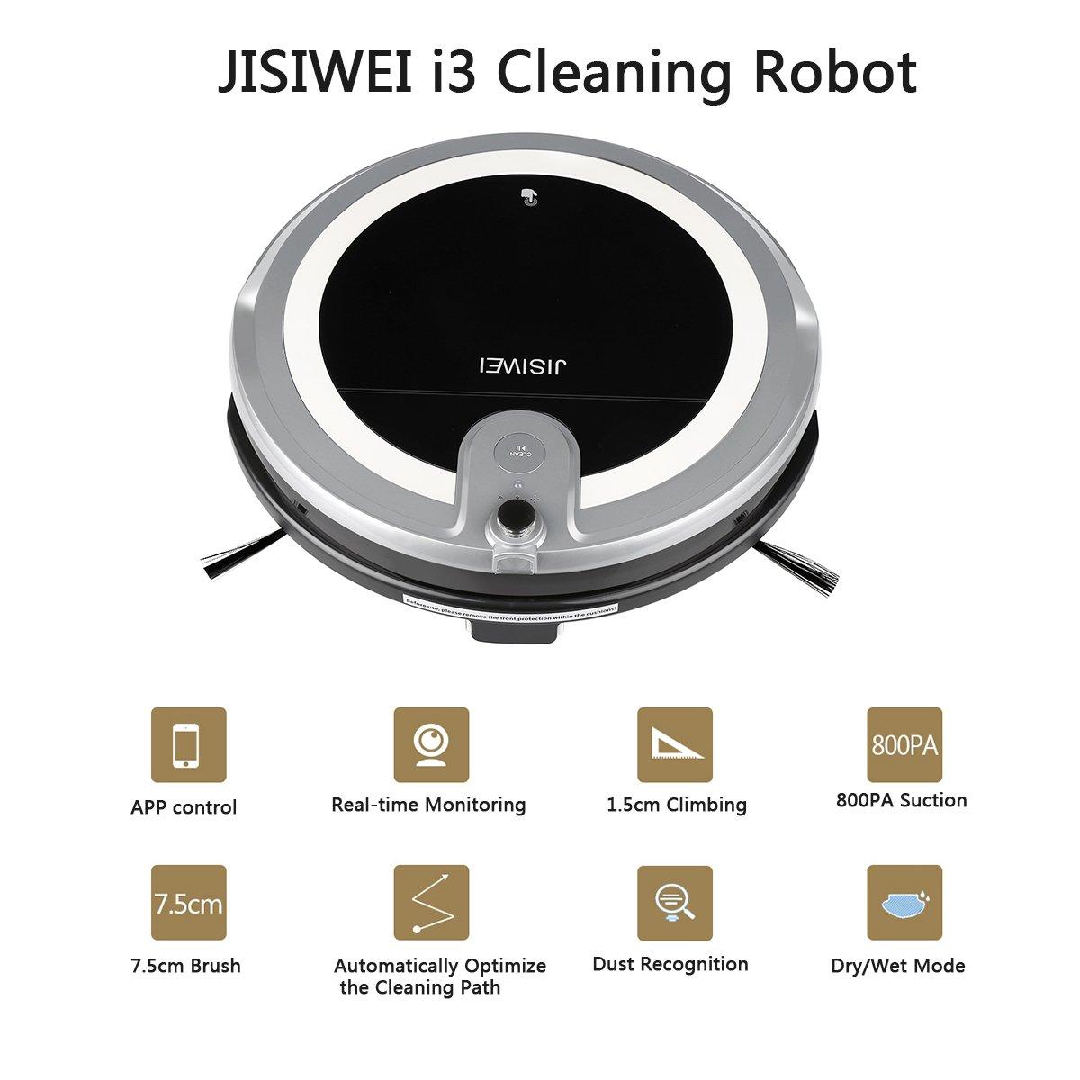 JISIWEI I3 - Robot Aspirador con Cámara HD Incorporada (APP Remoto Control, Sistema Anticolisión, Compatible con IOS y Android) (Gris): Amazon.es: Hogar