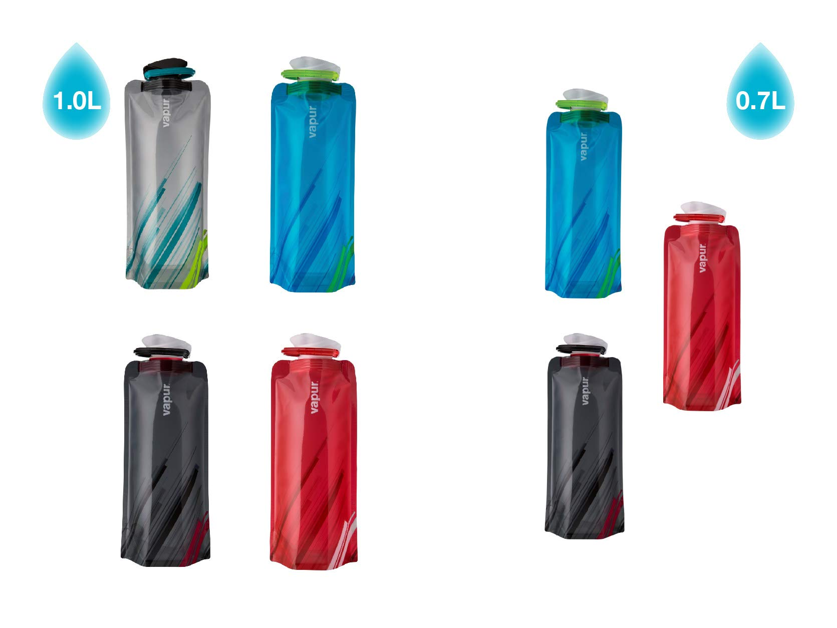 Vapur - Element 1.0L BPA Free Foldable Flexible Water Bottle w/Carabiner (Grey/Teal) by Vapur (Image #8)