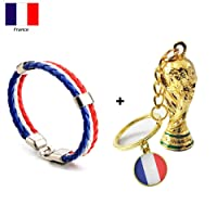 gaeruite 2018 Coupe du Monde Porte-clés, Coupe du Monde de Football Porte-clés Pendentif Accessoire, Coupe du Monde Cadeaux de Football Drapeau National Trophée Porte-clés (C: France)