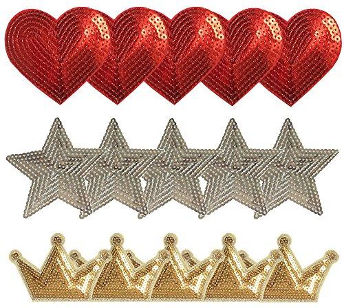 Czorange Five-pointed star love crown Sequins Patch Sew On/Iron On Patch Applique Set for Jeans T-shirt Clothes 15PCS (Heart Applique Sequin)