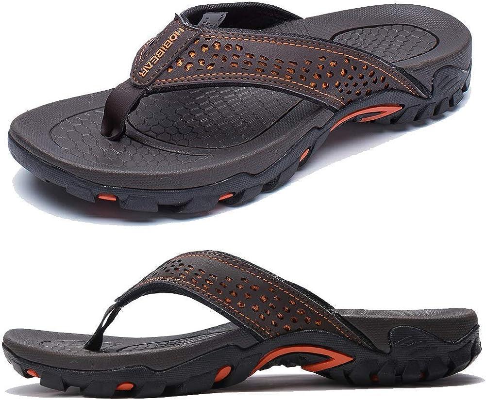 KIIU Mens Flip Flop Indoor and Outdoor Thong Sandals Beach Slippers Brown 4, 11.5