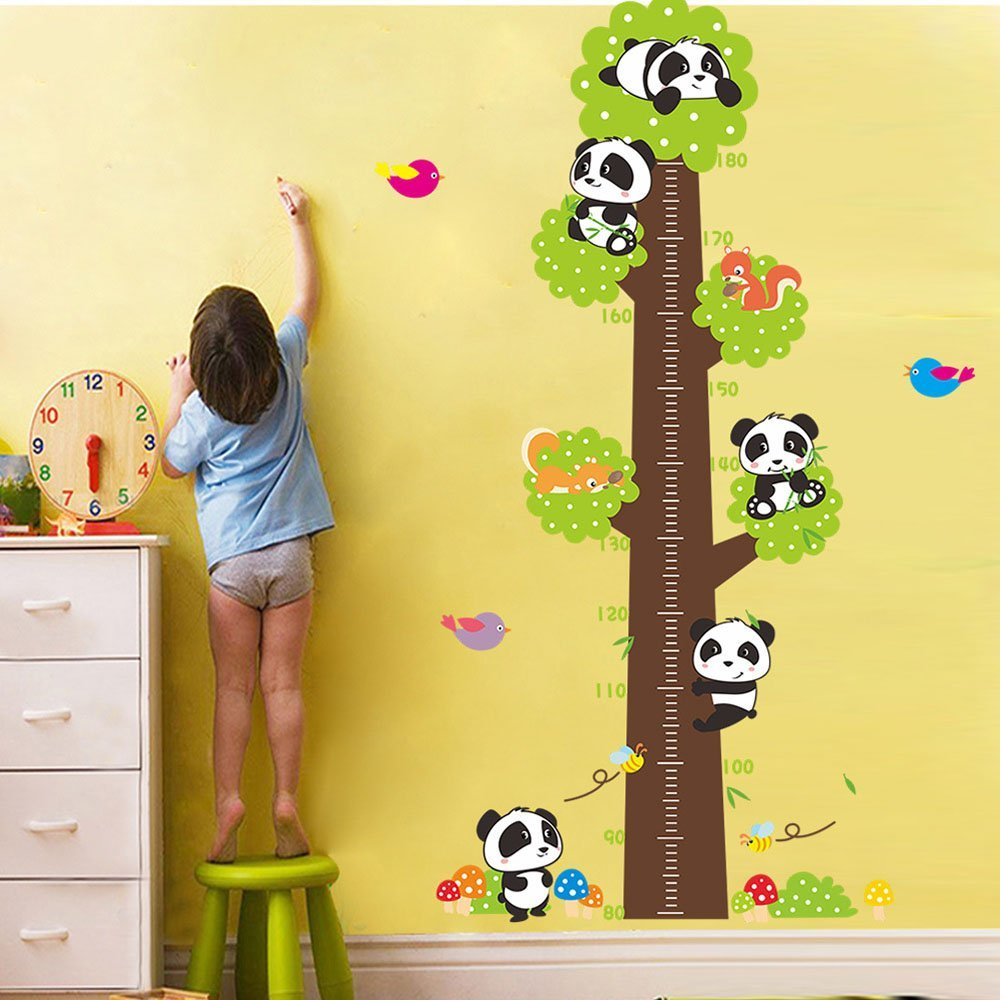 Height Chart Pandas in Huge Tree Cartoon Wall Art Stickers Squirrels, Birds & Mushroom Colourful Removable DIY Vinyl Wall Decals 80-180cm Ruler Nursery, Children's Bedroom Children's Bedroom FangKuai