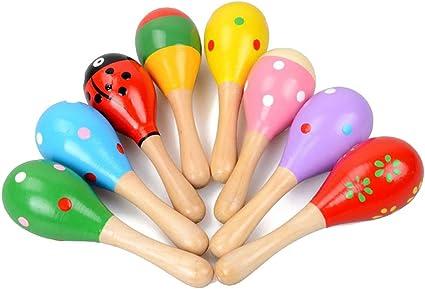 2 x Holz Rassel Musikinstrument Spielzeug fuer Kinder