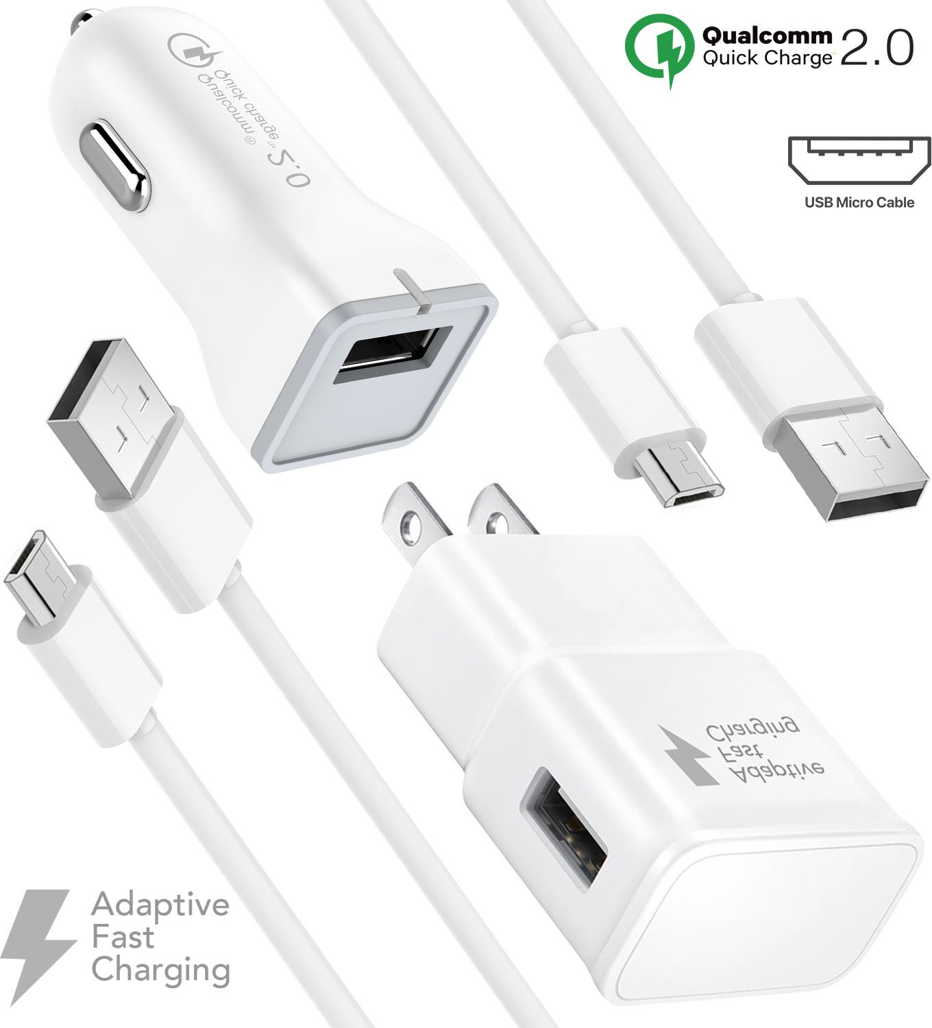 Galaxy S7 Edge Fast Charger Combo Kit {Wall Charger + Car Charger + 2 Cable} True Digital Adaptive Fast Charging uses dual voltages for up to 50% faster charging! - By Boxgear Compatible with Samsung