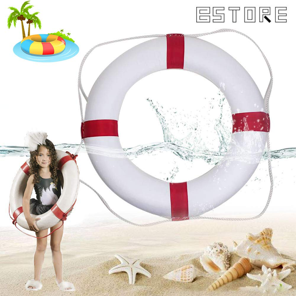 BSTORE 52cm/20.5inch Diameter Swim Foam Ring Buoy Children Swimming Pool Safety Life Preserver with Perimeter Rope red by BSTORE