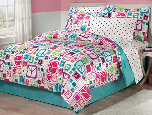 (My Room Peace Out Girls Comforter Set with Bedskirt, Teal, Twin)