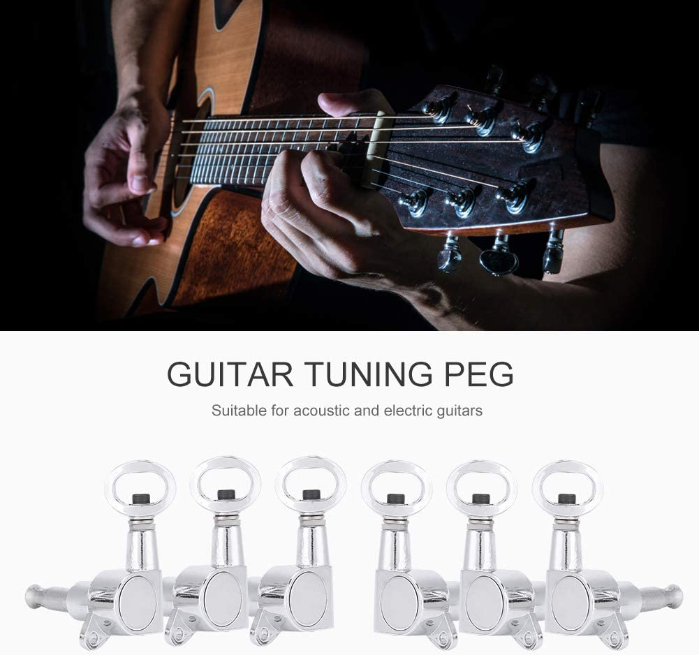 6 Pcs Hollow Handle Tuning Pegs Locking Machine Heads for Acoustic Electric Guitar Accessory Dilwe Guitar Tuning Peg