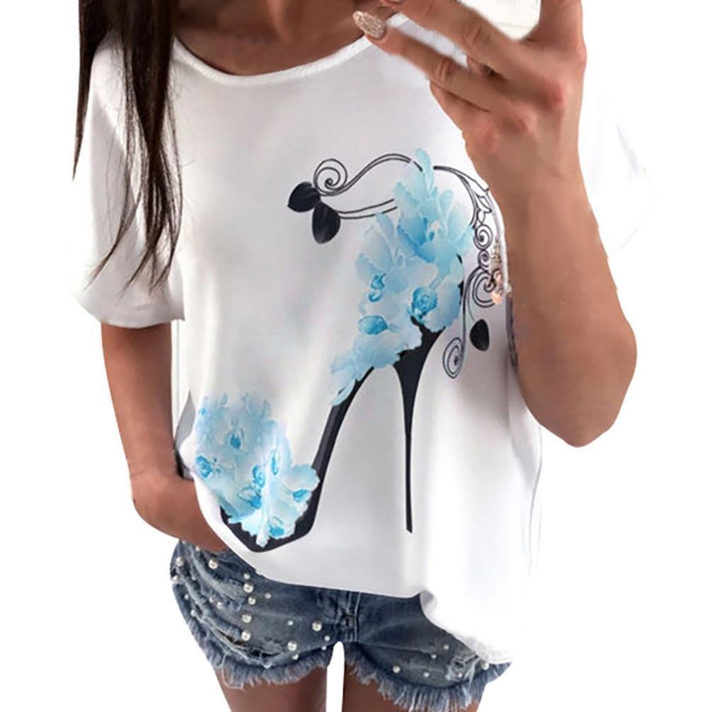 Big Promotion! Women T-Shirt ODGear Girls Summer Short Sleeve High Heels Printed Casual Loose Tops Blouse Pullover Shirts (M, Blue)