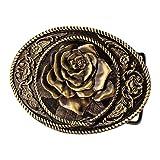 Buckle Rage Bronze Vintage Rose Decorative Belt Buck Snap On Antique Western